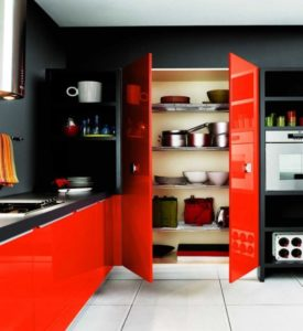 cozinha clean com vermelho