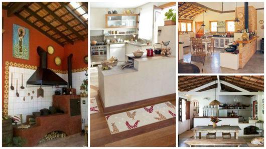 cozinha de fazenda com fogão a lenha