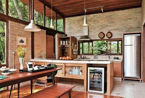 Cozinha r stica como decorar e 58 fotos lindas for Casa moderna rustica