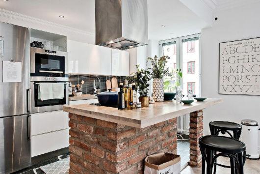 cozinha escandinava com ilha