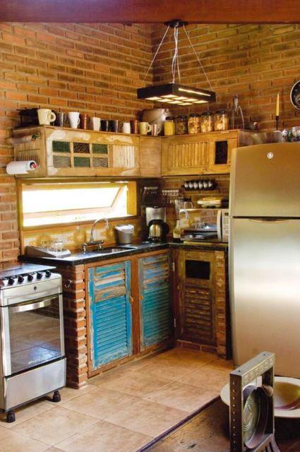 cozinha de tijolo a vista