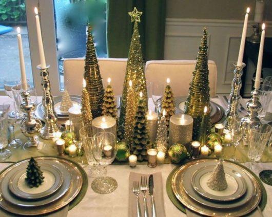 decoração verde mesa de jantar