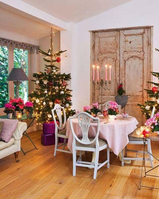 decoração com flores rosas