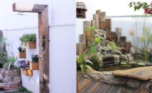 chuveiro para piscina com pedra e madeira
