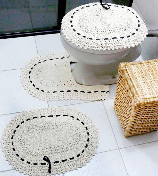 Jogo de banheiro de crochê 88 inspirações lindas; e gráficos e receitas! -> Jogo De Banheiro Simples Em Croche