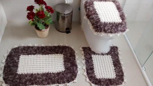 Jogo de banheiro de crochê 88 inspirações lindas; e gráficos e receitas! -> Jogo De Banheiro Oval Simples Com Grafico