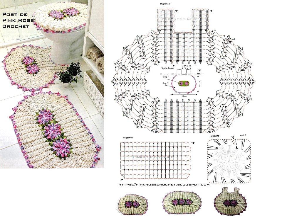 Jogo de banheiro de crochê 88 inspirações lindas; e gráficos e receitas! -> Jogo De Banheiro Simples Grafico