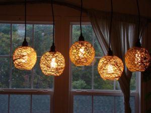 luminárias rústicas de barbante
