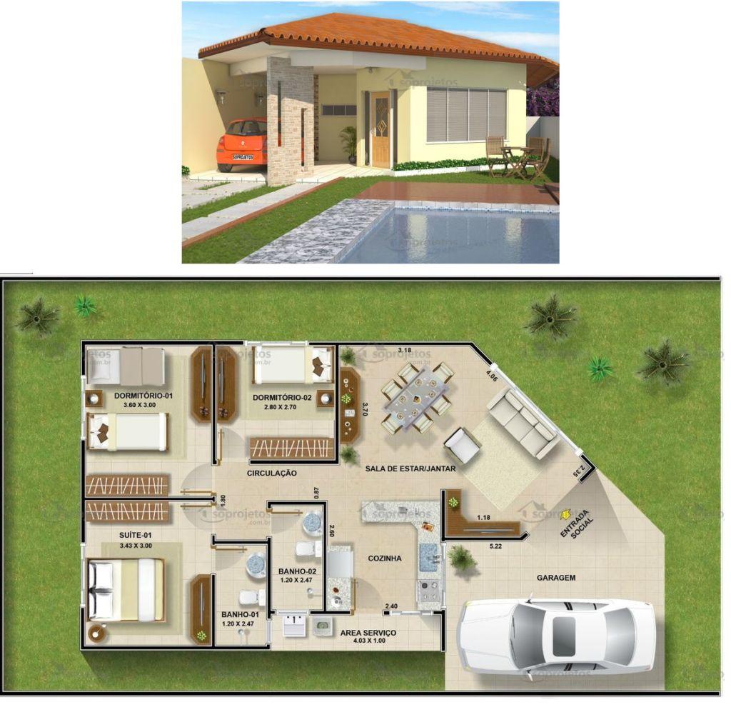 Plantas de casas com 3 quartos: 37 inspirações e projetos grátis! #2076AB 1024 1004