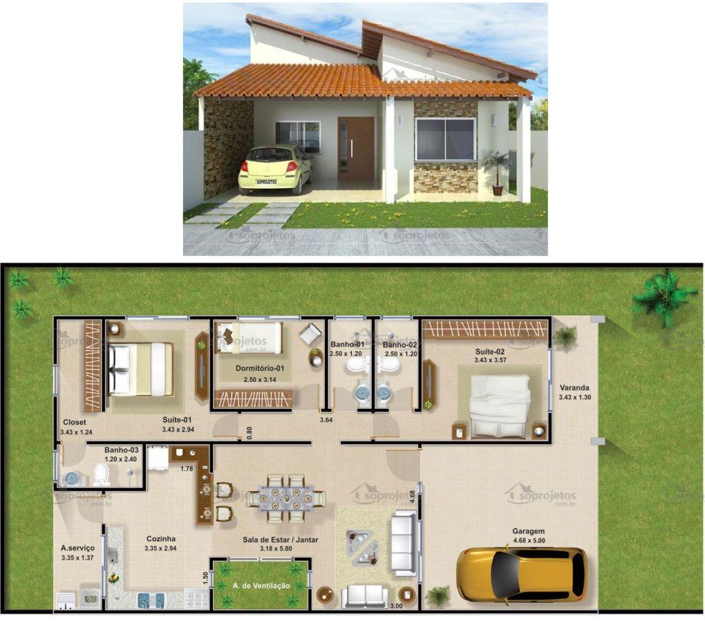 Plantas de casas com 3 quartos: 37 inspirações e projetos grátis! #A16B2A 1024 908