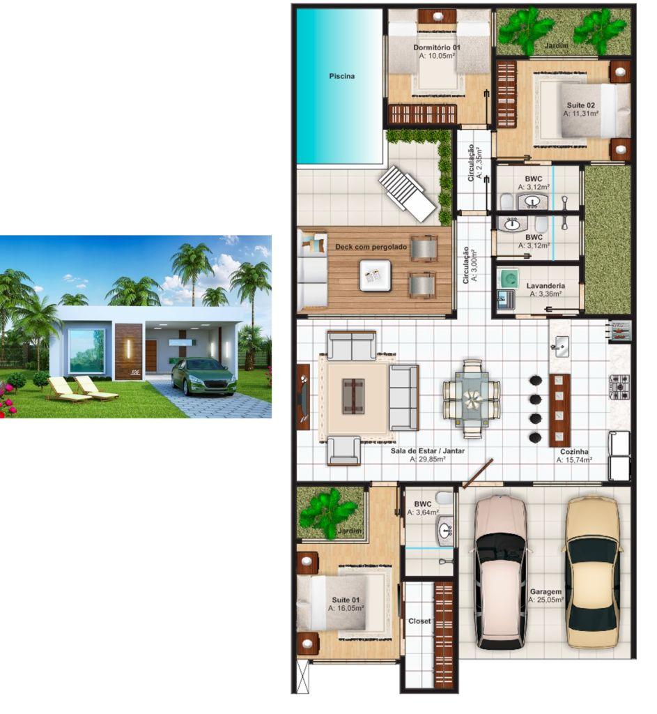 Plantas de casas com 3 quartos 37 inspira es e projetos for Frentes de casas de una planta