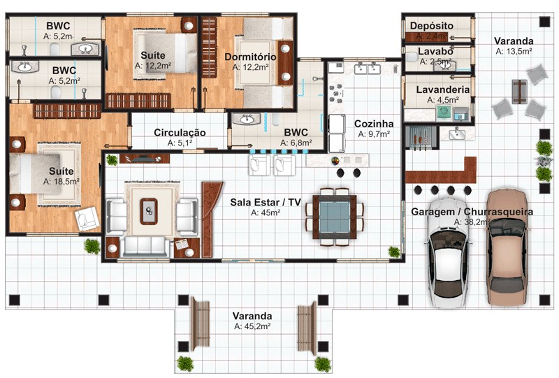 Sala De Tv Planta Baixa ~ Plantas de casas com 3 quartos 37 inspirações e projetos grátis!
