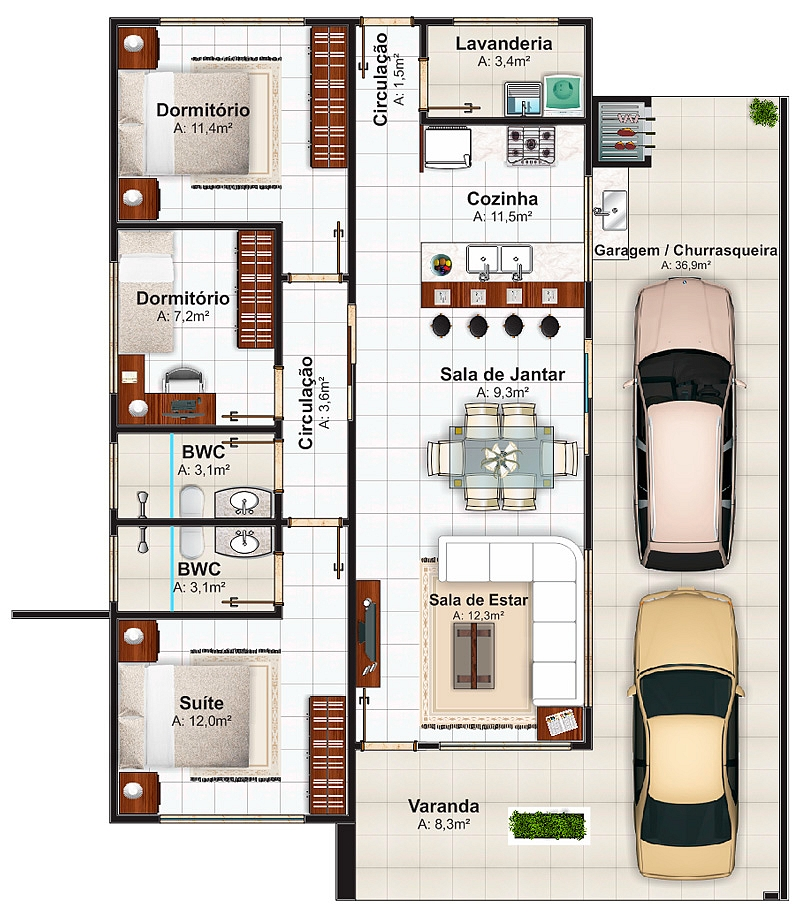 Plantas de casas com 3 quartos 37 inspira es e projetos for Sala de 9 metros quadrados