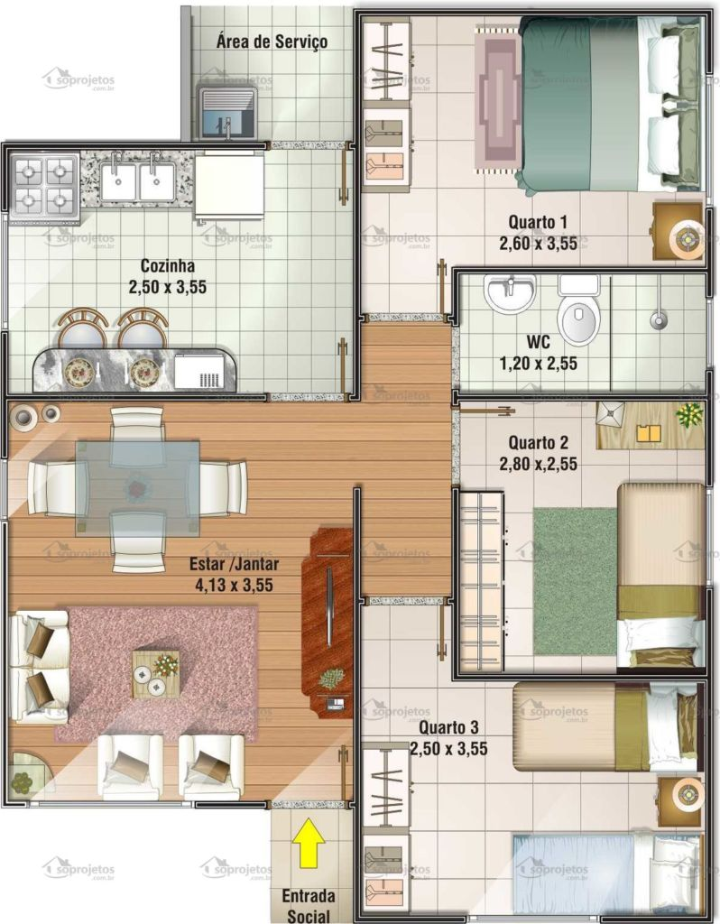 Plantas de casas com 3 quartos 37 inspira es e projetos for Ver planos de casas pequenas