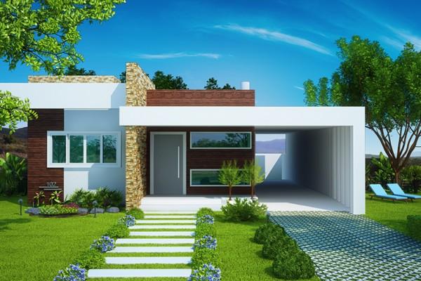 casa térrea com fachada moderna