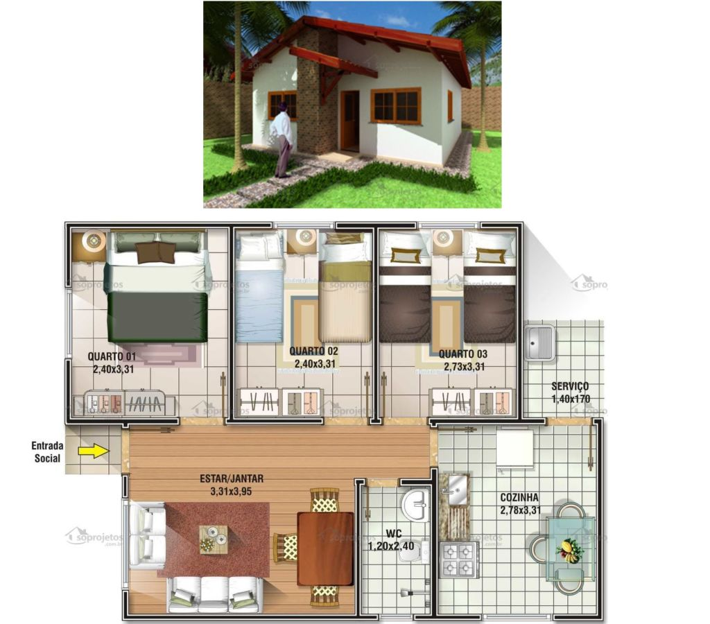 planta casa pequena com 3 quartos