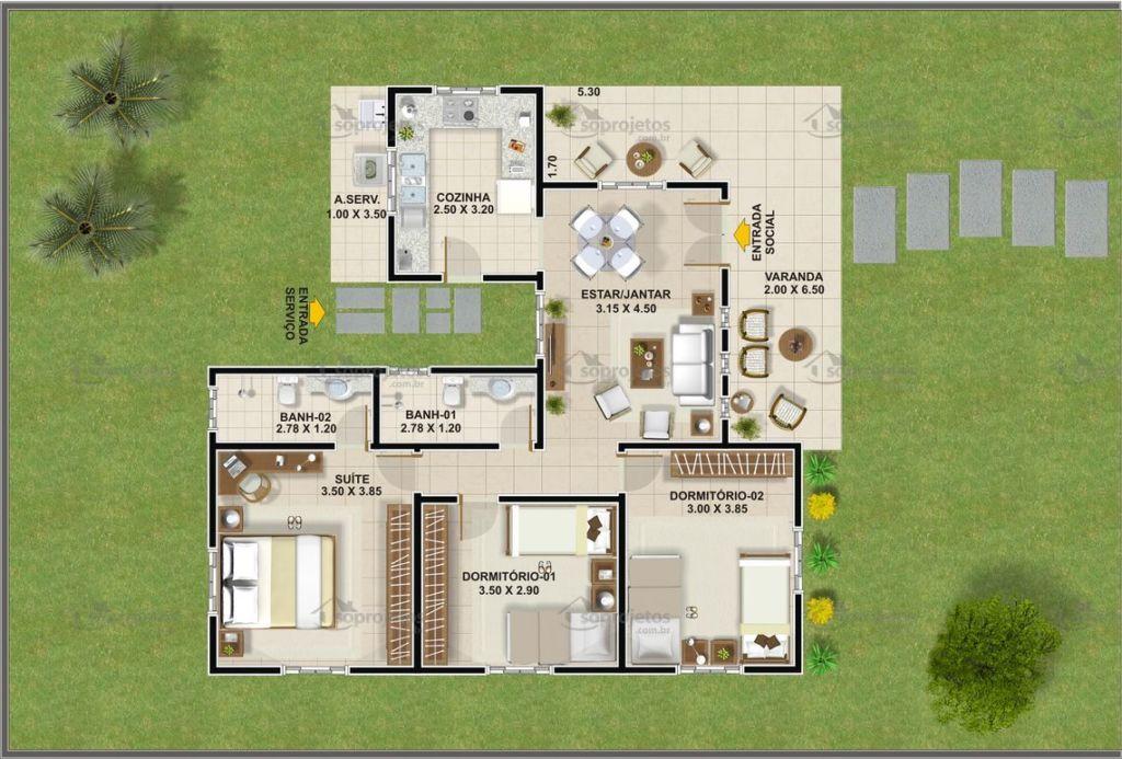 planta 100 m²