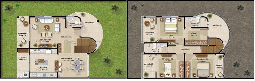 Suficiente Plantas de casas com 3 quartos: 37 inspirações e projetos grátis! IR92