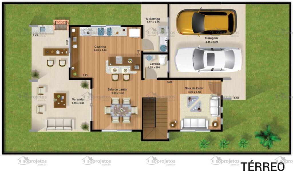 Plantas de casas com 3 quartos 37 inspira es e projetos for Casa moderna 90m2