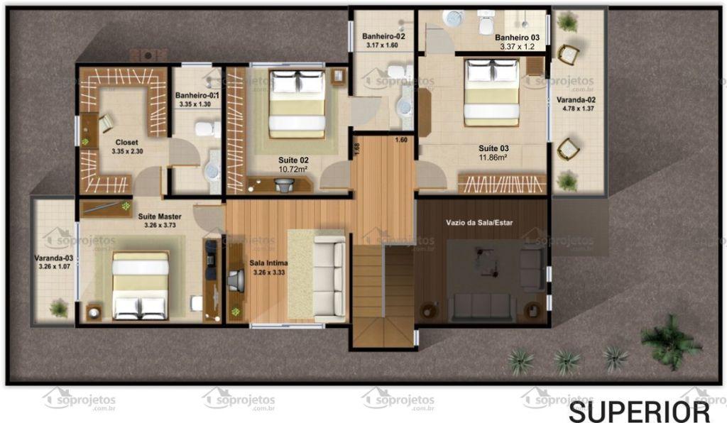 Populares Plantas de casas com 3 quartos: 37 inspirações e projetos grátis! AX26