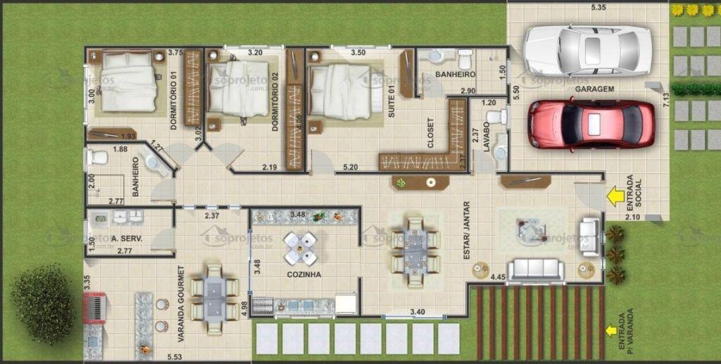 Plantas de casas com 3 quartos 37 inspira es e projetos for Casa moderna 2 andares 3 quartos