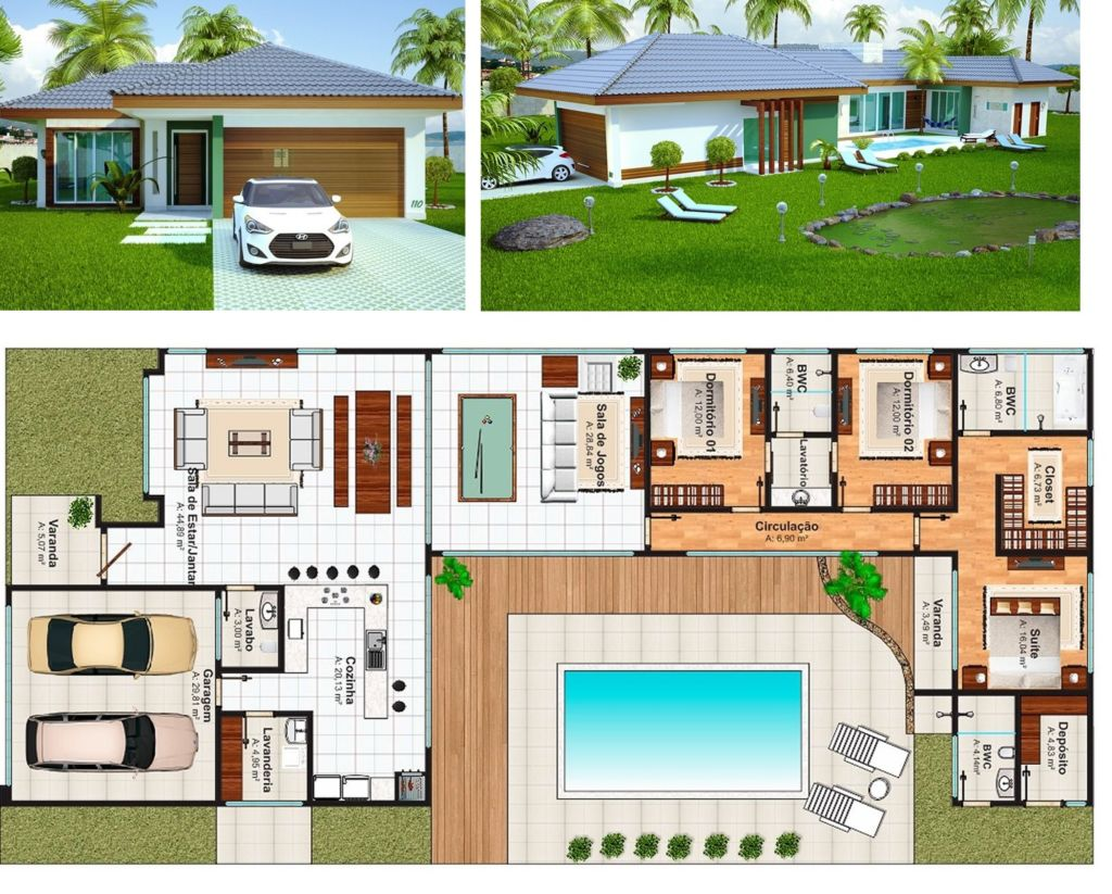 casa com deck de madeira e piscina