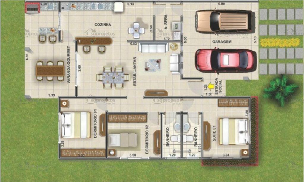 Plantas de casas com 3 quartos 37 inspira es e projetos for Casa moderna 150 m2