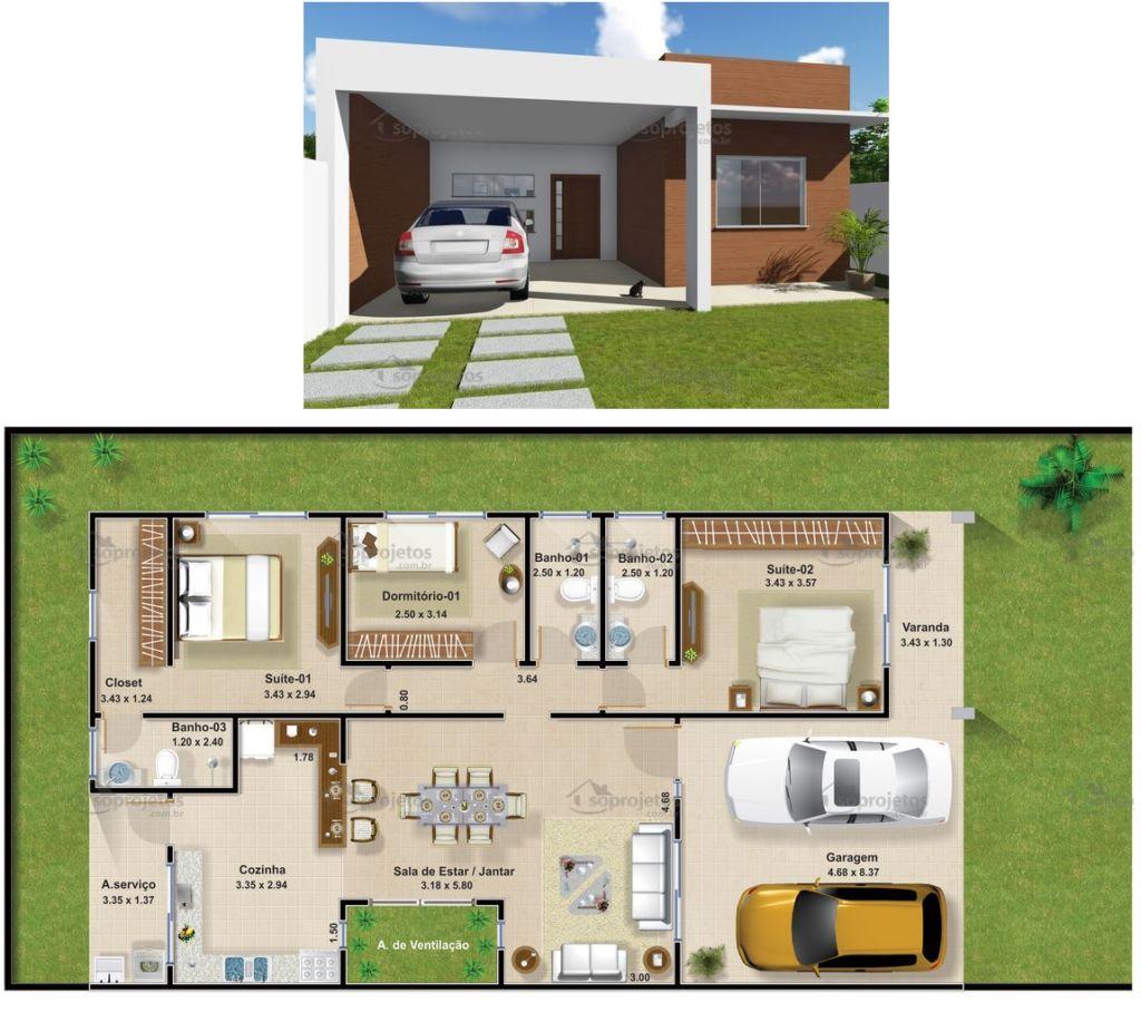 Plantas de casas com 3 quartos: 37 inspirações e projetos grátis! #A67A25 1024 917