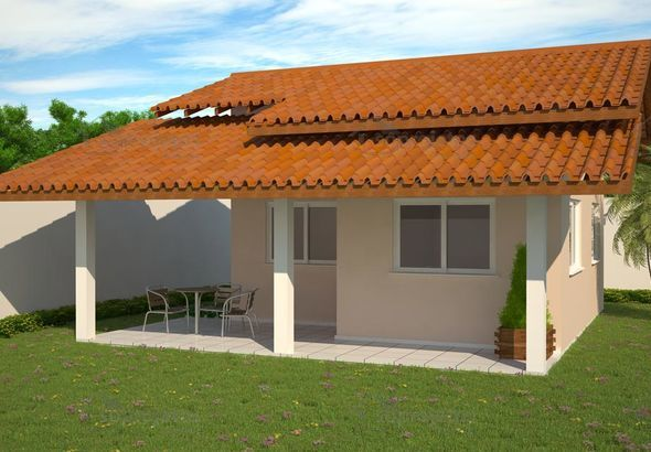 fachada simples e varanda