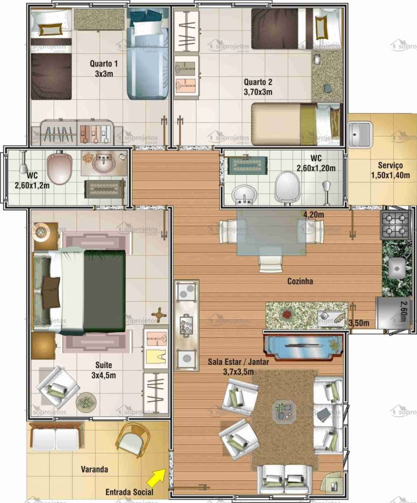 Plantas e projetos de casas populares gr tis 50 modelos for 150 minimalist house ideas pdf