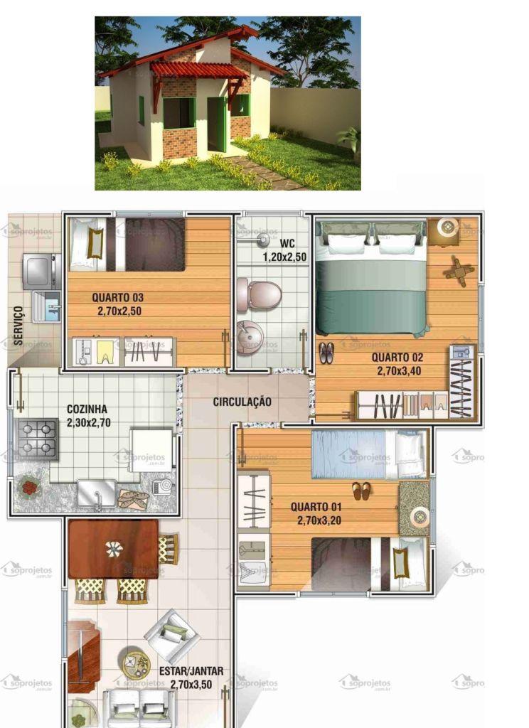 projeto casa 3 quartos