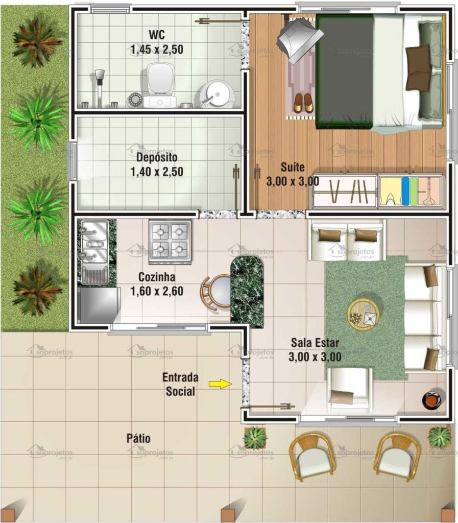 Plantas e projetos de casas populares gr tis 50 modelos for Plantas de casas tipo 3 modernas