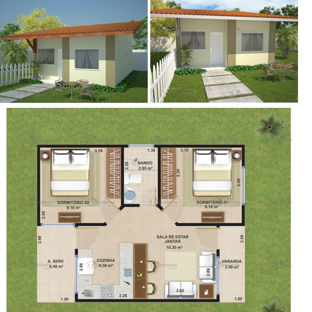 Plantas e projetos de casas populares grátis: 50 modelos incríveis! #734E2F 1024 1022