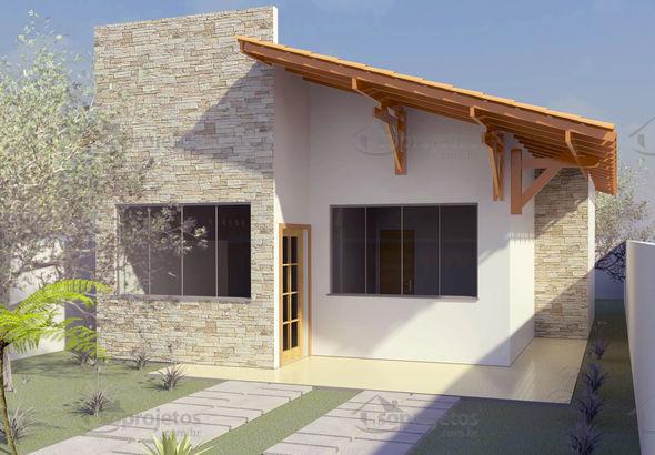 casa simples com telhado aparente