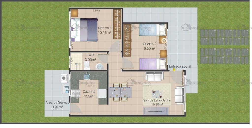 planta casa 2 quartos