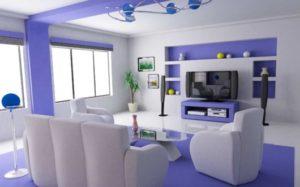 sala colorida clean com sofá branco
