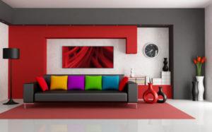 sala colorida clean com sofá preto