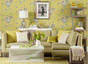 papel de parede em decoração de sala colorida