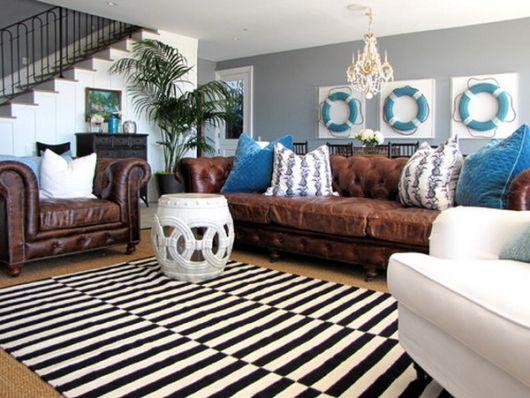 Sala De Tv Com Sofa Marrom ~ salacomsofamarromalmofadascoloridas