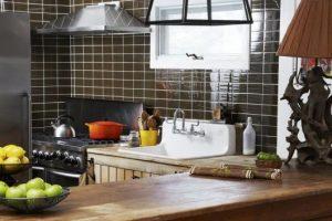 azulejo de metrô marrom para cozinha