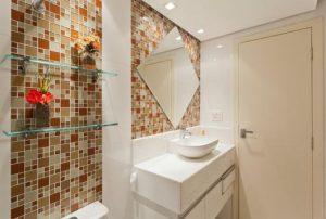 banheiro marrom decoração de parede