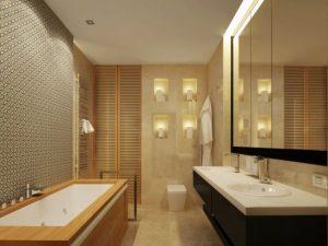 banheiro marrom com lustres