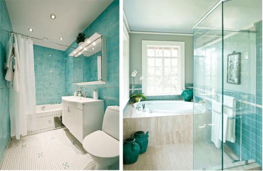 Decoraç u00e3o AZUL TURQUESA u2013 44 melhores fotos e combinações! # Decoração De Casas De Banho Em Azul