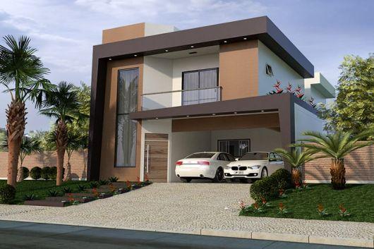Casa marrom dicas de tintas estilos e 45 modelos for Casa villa decoracion exterior fachada