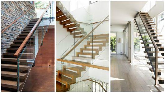 escada vidro e madeira