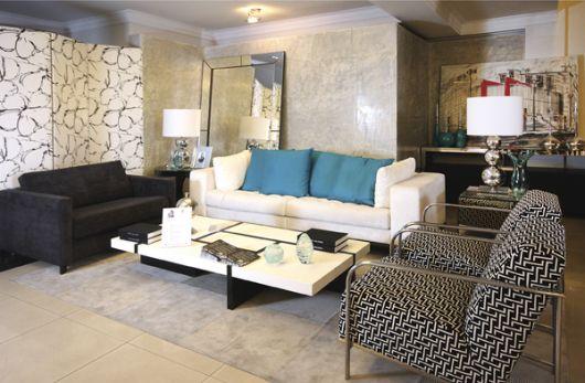 sala de estar com textura parede