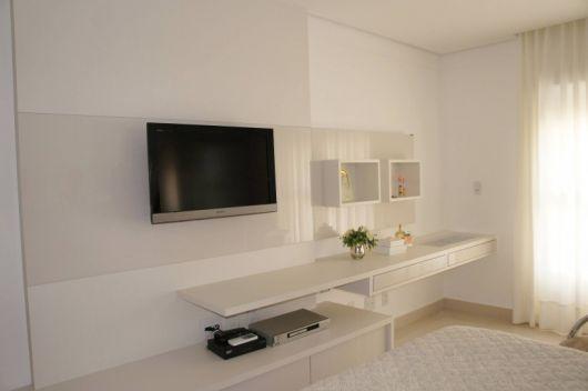 Painel de TV para Quarto Estilos e mais de 50 modelos  ~ Quarto Solteiro Com Tv Na Parede