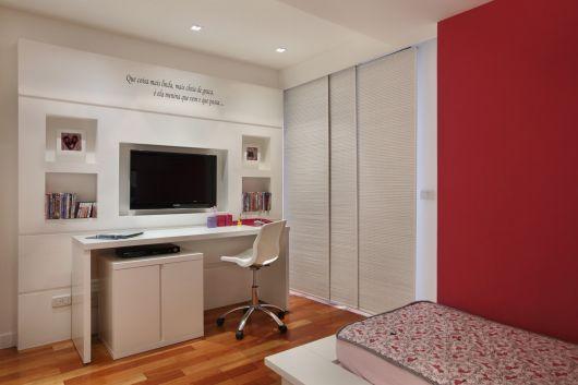 Painel de TV para Quarto Estilos e mais de 50 modelos  ~ Quarto Planejado Escrivaninha