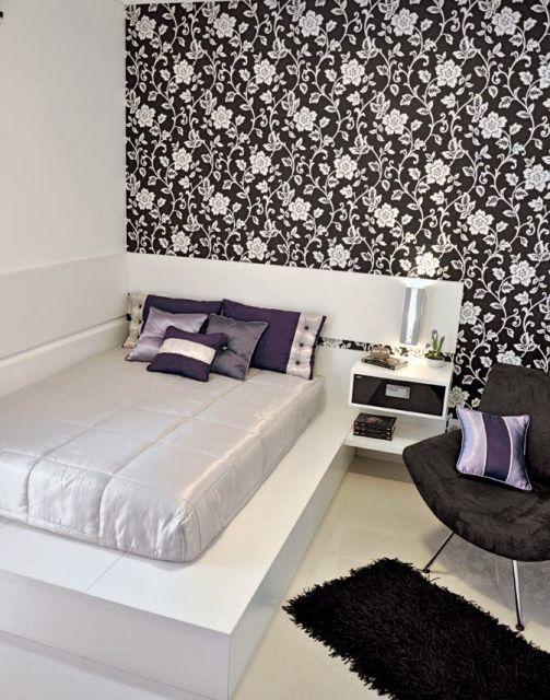 papel de parede floral preto e branco