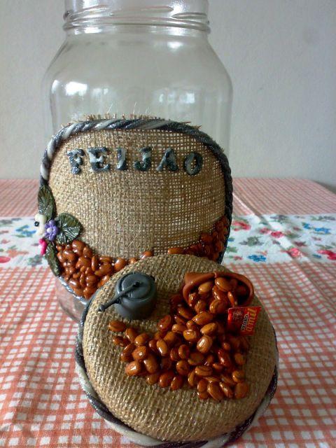pote de feijão decorado